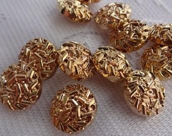 Gold Tone Plastic Shank Buttons, Gold Shank Buttons, Gold Novelty Buttons, Craft Buttons, Fancy Buttons, Scrapbooking Supplies, 12 Pieces
