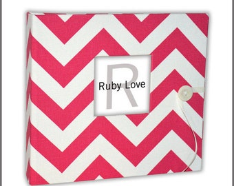BABY BOOK | Hot Pink Chevron Stripe Album - Modern Baby Memory Book