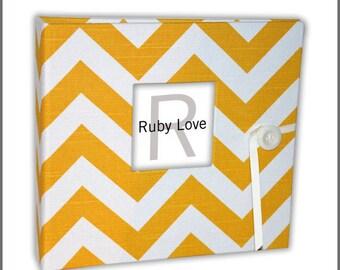Yellow Chevron Stripe Album - Ruby Love Modern Baby Memory Book