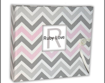 Pink and Gray Chevron Stripe Baby Book | Modern Baby Memory Book
