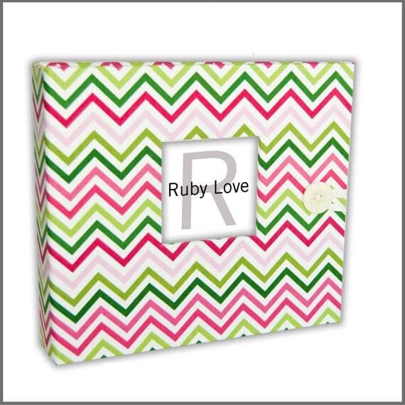 BABY BOOK   Spring Chevron Stripe Baby Book   Modern Baby Memory Book