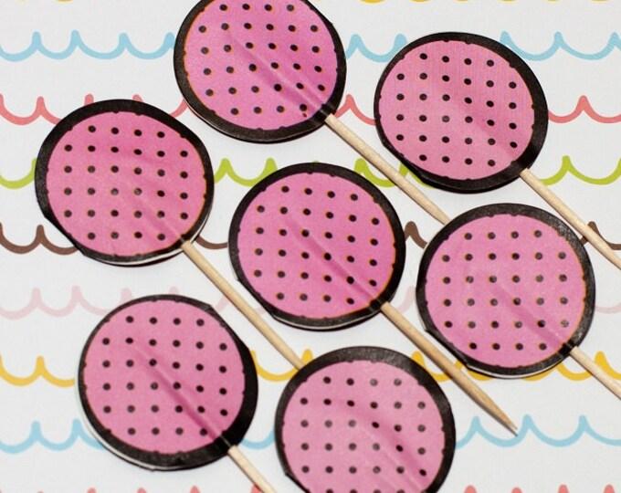 SALE - Fun Pix - Pink/Dark Brown Polka Dots