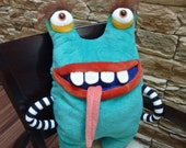 Pajama eater,  big funny monster pillow, blue plush toy monster, large home decoration, nice stuffed toy