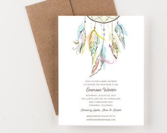 Bohemian Dreamcatcher Baby Shower, Save The Date, Wedding Announcement, Bridal Shower