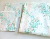 Queen Flat Sheet 2 Standard Pillowcases Peach Stripes Flowers