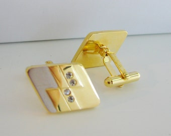 Vintage gold dice cuff links with clear crystals
