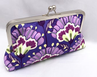Purple Floral Clutch Custom Handbag Accesory for Wedding or Special Occassion Clutch gift for Bridesmaid gift Custom Made