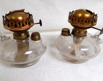 Antique Pair of  Glass Bottom Finger Oil Lamps adaptable for Wall brackets 3 3/4 in Base Eagle Burners Matched Pair
