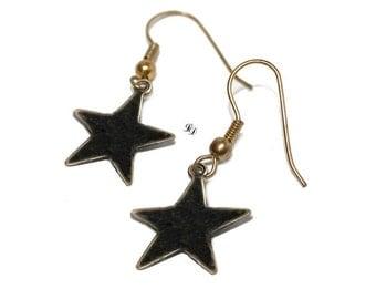 Earrings Black star, boho, rocker, astrology, space, modern, high fashion, gothic, trendy, star earrings, celestial, boho - Free shipping!