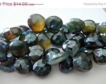 35% OFF Mystic Brown Green Chalcedony faceted heart briolette