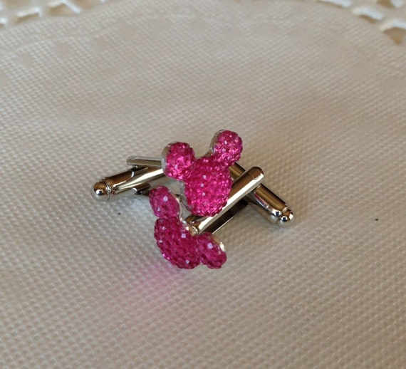 MOUSE EARS Cuff Links for Wedding Party in Dazzling Bright Pink Acrylic Gift Box Included FREE