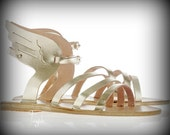 "Gold Sandals with wings - Natural Greek Leather sandals-gladiator sandals ""Hermes"""
