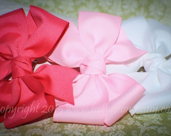 Double Loop Pinwheel Grosgrain Hair Bows - Set of 3 White Pink & Hot Pink - Back to School