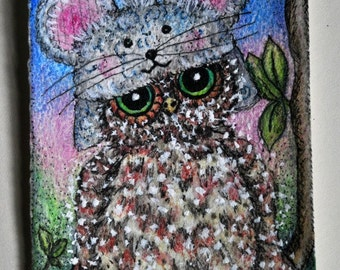 Mouse Hoot is a cute whimsical original artist trading card, painting of an owl in a child's mouse hat.