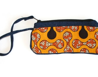 Red Orange Black Beads  Wristlet / FREE SHIPPING / Fair Trade Made in Malawi from African Print Cotton Textile WWT-022