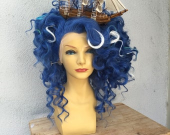 Blue Ocean Pirate Ship Lace Front Drag Queen Adult Costume Wig