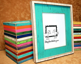 "16x20 picture frame, Bright colored frame, Distressed frame, weathered shabby chic frame, Large frame, Choose colors, 2 Dogs chunky 3"" wide"