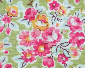 Clearance - Flower Fabric in Apple Green , Flower Blossom Fabric