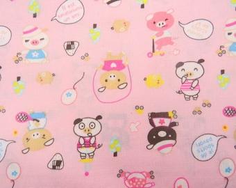 2600B -- Lovely Pigs Fabric in Pink , Cute Animal Fabric , Kawaii Fabric