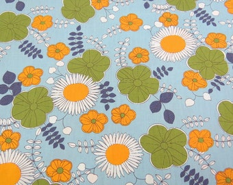 2608B - Sale - Sunflower, Poppy and Vine Leaf in Light Blue , Flower Fabric , Floral Fabric