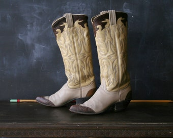 Vintage Country Western Boots Tony Lama Size 5.5 to 6 Brown Off White and Yellow From Nowvintage on Etsy