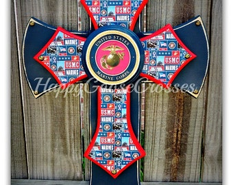 Wall Cross - Wood Cross - Military - Medium - US Marines, USMC (can be made in any branch)