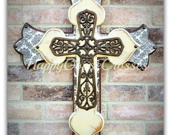 Wall CROSS - Wood Cross - Large - Aged Brown Damask, Antiqued Beige, with Large Iron Cross