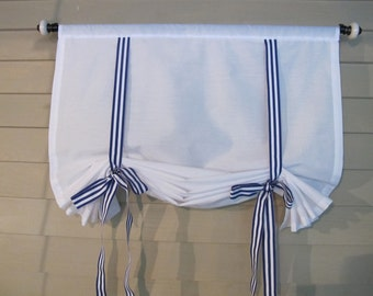 White 36 Inch Long Cotton Stage Coach Blind Swedish Roll Up Shade Royal Blue Gross Grain Ribbon Ties