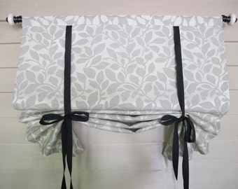 Tie Up Shade 36 Inch Long Stage Coach Tie Up Curtain Blind Black and White Leaf Pattern