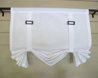 White Cotton Stage Coach Swedish Blind Roll Up Shade Buckles and Gross Grain Ribbon Straps