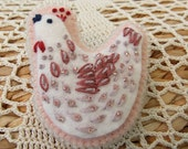 Pink Felt Pin with Hand Embroidered and Beaded Bird Decoration