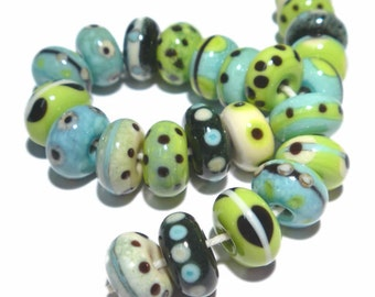 KATA Handmade Lampwork Beads - Cool  Colors Ivory Black Lime Green Blue Turquoise - Organic Rounds -