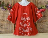 reserved Vintage Hippie Boho Tunic-Red White Floral Embroidered Roses-Sz Large