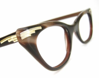 Vintage Satin Brown Cat Eye Glasses Eyeglasses Sunglasses Frame With Gold Accents