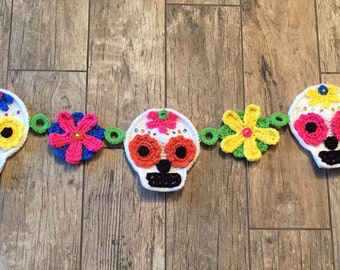 Crocheted Sugar Skull Garland