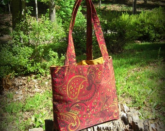 Red Paisley Romance Tote Bag