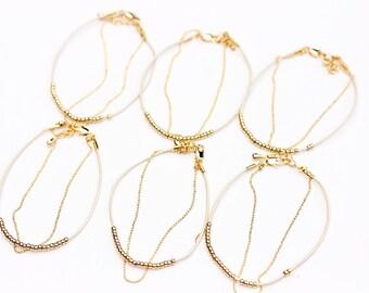 Set of 6 Dainty Beaded Bracelets