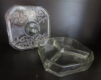 Vintage Sterling Silver Overlay Three Compartment Clear Glass Dish or Box - Glass Covered Candy Dish or Vanity Box