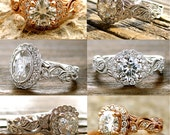 Order Your Moissanite Vine Engagement Ring with Diamonds - For Deposit Only