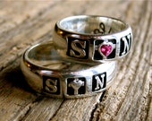 Ruby Heart Romeo and Juliet Wedding Ring Set in Sterling Silver with Hand Engraving Sizes 7 & 9