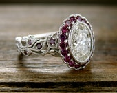 Oval Diamond Engagement Ring in 14K White Gold with Purple Diamond Accents in Setting with Fine Vine Motif Size 6