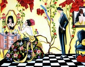 Fine Art Print, Woman in Mirror, Red Flowers, Floral Gown, Checked Floor, Yellow Print from Original Oil Painting by k Madison Moore