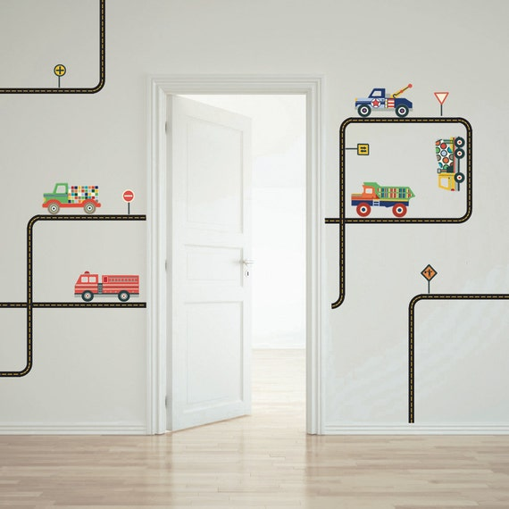 Trucks Removable Wall Decals & Curved Straight Black Road Stickers