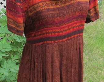 upcycled dress & scarf brown aztec tribal sz M refashion light summer fabric one of a kind original