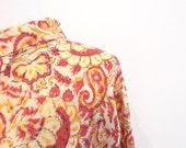 VTG Lotus Flower Paisley Cotton India Tunic Block Print Festival Mini Summer Sun Dress. Yellow Red Black Floral Hippie Long Sleeve Boho Chic