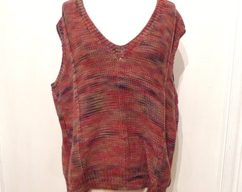 Ombre Handmade Cotton Vest Boho Chic V-Neck Sweater Pullover Heathered Knit Rose Red Violet Taupe Preppy Slouchy Oversized L 80s Street sale