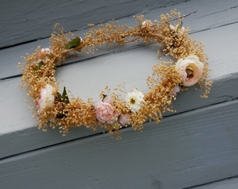 dried flower crown blush Bridal hairpiece Woodland Wedding hair wreath accessories babys breath Rustic Chic bridal party headwreath