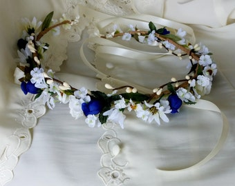 Boho Halo royal blue bridal Flower Crown hair garland Wreath pip berry white daisies Wedding accessories circlet music festival headband
