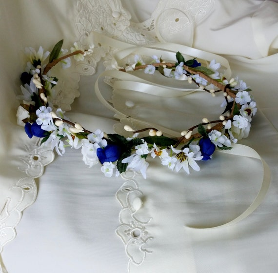 Boho Halo Royal Blue Bridal Flower Crown Hair Garland Wreath