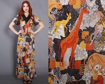 70s JUNGLE Print MAXI / 1970s Slinky Novelty Animal Print Black Crochet Trim MAXI